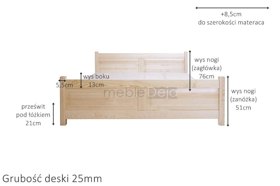 łóżko Drewniane Sosnowe Rama92 140x200